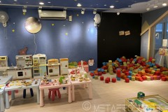 Inside block play area